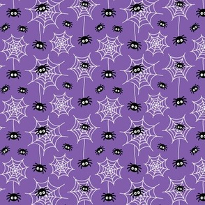 tiny spiders and webs on purple » halloween