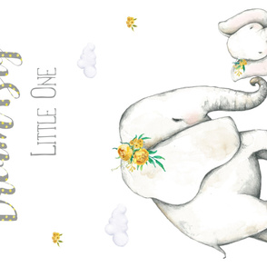 "56""x36"" Dream Big Little One / Yellow Floral Elephant"