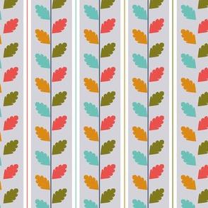 retro garden - leaves white