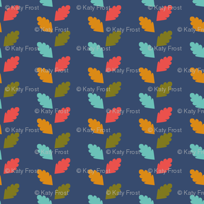 Retro garden leaves blue fabric katybobsyouraunty for Retro space fabric uk