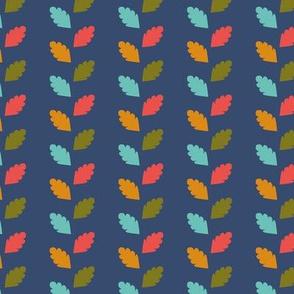 retro garden - leaves blue