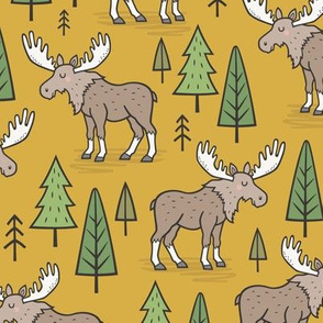 Forest Woodland Moose & Trees on Mustard Yellow