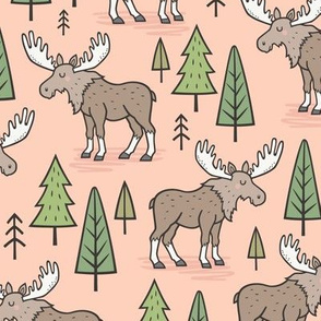 Forest Woodland Moose & Trees on Peach