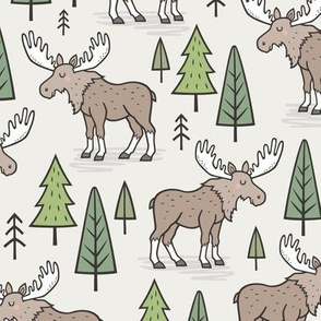 Forest Woodland Moose & Trees on Cloud Grey