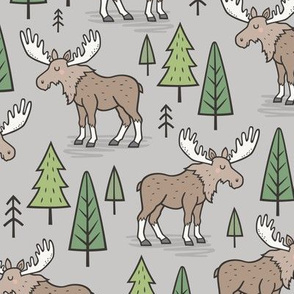Forest Woodland Moose & Trees on Light Grey