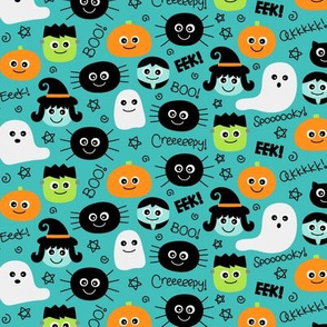 tiny halloween cuties on teal blue