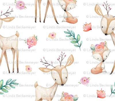 Sweet Deer & Fox - Coral Flowers Woodland Animals Baby Girl Nursery Bedding
