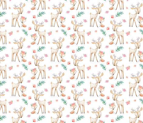 Sweet Deer & Fox - Coral Flowers Woodland Animals Baby Girl Nursery Bedding fabric by gingerlous on Spoonflower - custom fabric
