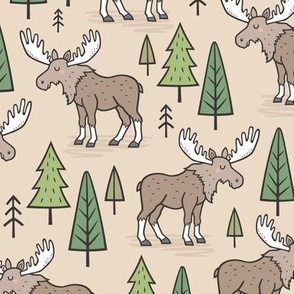 Forest Woodland Moose & Trees