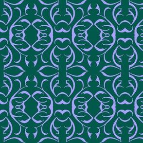 SHANGHAI CIRCLES Forest Green & Lilac