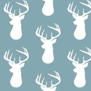 Blue Pond + White Deer Buck Silhouette  – Woodland Baby Nursery Bedding