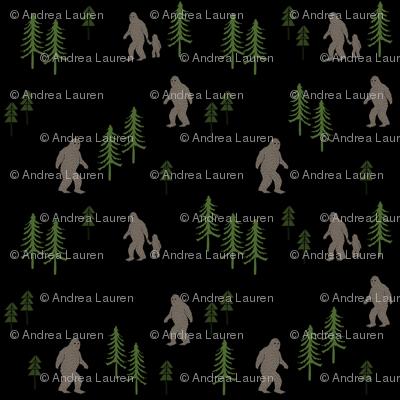 Sasquatch forest mythical animal fabric black