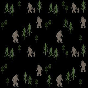 Sasquatch forest mythical animal fabric black