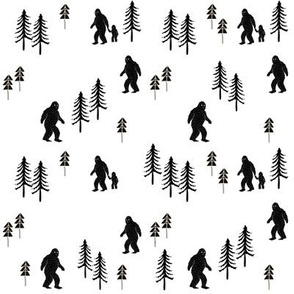 Sasquatch forest mythical animal fabric black and white