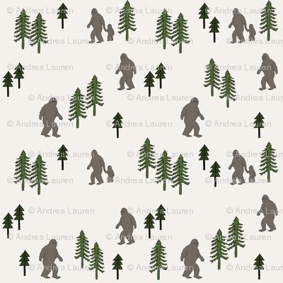 Sasquatch forest mythical animal fabric dark_brown