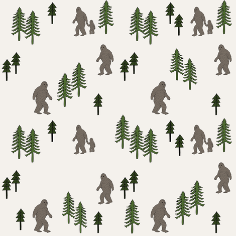 Sasquatch forest mythical animal fabric dark_brown fabric by andrea_lauren on Spoonflower - custom fabric