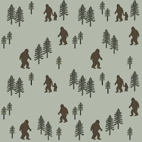 Sasquatch forest mythical animal fabric forest_green