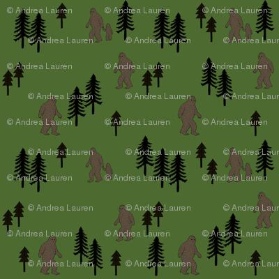 Sasquatch forest mythical animal fabric green