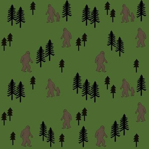 Sasquatch forest mythical animal fabric green