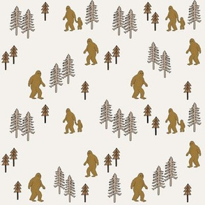Sasquatch forest mythical animal fabric neutral