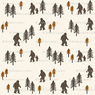Sasquatch forest mythical animal fabric orange_brown