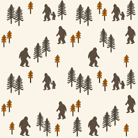 Sasquatch forest mythical animal fabric orange_brown fabric by andrea_lauren on Spoonflower - custom fabric