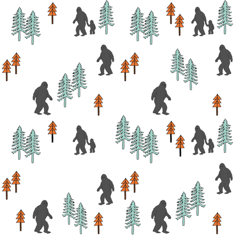 Sasquatch forest mythical animal fabric orange_mint_grey fabric by andrea_lauren on Spoonflower - custom fabric