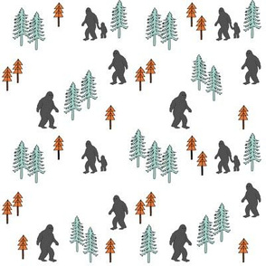 Sasquatch forest mythical animal fabric orange_mint_grey