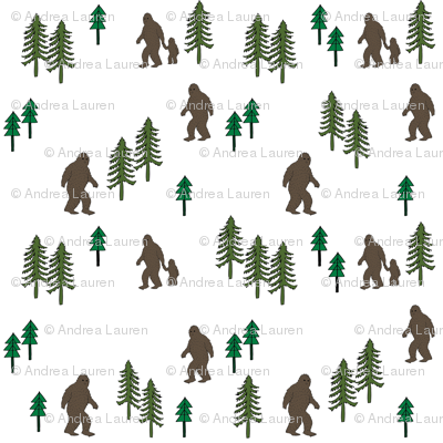Sasquatch forest mythical animal fabric white_green