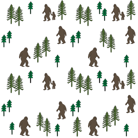 Sasquatch forest mythical animal fabric white_green fabric by andrea_lauren on Spoonflower - custom fabric