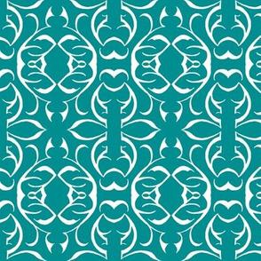 SHANGHAI CIRCLES Turquoise & White