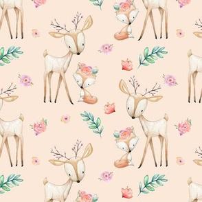 Sweet Deer & Fox (blush) - Woodland Animals Flowers Baby Girl Nursery Bedding