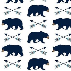 Navy Bear & Arrows - Woodland Baby Nursery Bedding GingerLous