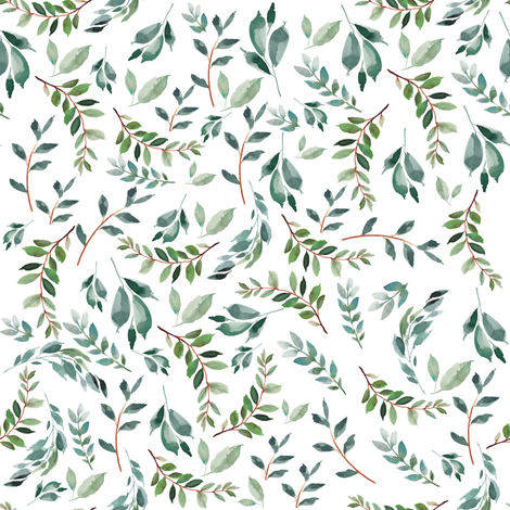 """8"""" Wild at Heart Branches / White fabric by shopcabin on Spoonflower - custom fabric"""