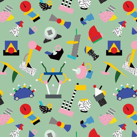 Memphis Milano Sculpture Garden fabric by elliottdesignfactory on Spoonflower - custom fabric