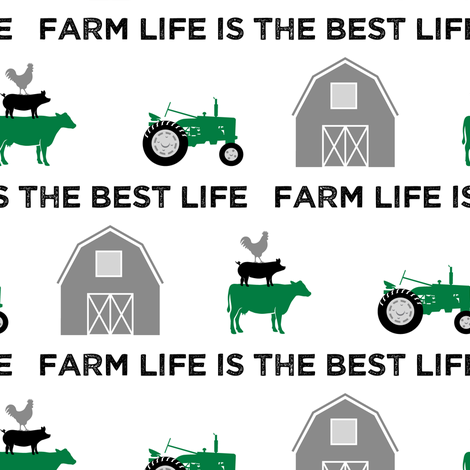 farm life is the best life - green and black fabric by littlearrowdesign on Spoonflower - custom fabric