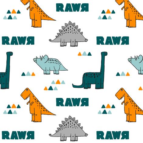 multi dino w/ rawr (small scale) fabric by littlearrowdesign on Spoonflower - custom fabric