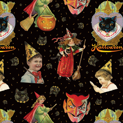 Vintage Halloween Party in Black Cat + Gold Celestial fabric by elliottdesignfactory on Spoonflower - custom fabric