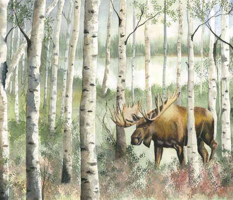 Birch_Moose_Cropped fabric by mathis_arts_ on Spoonflower - custom fabric