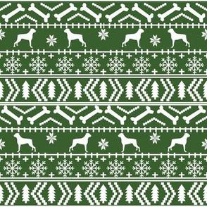 Boxer fair isle christmas sweater fabric green