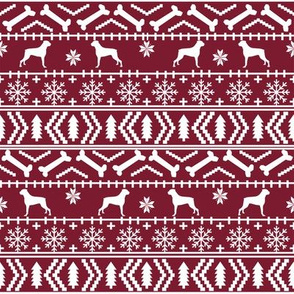 Boxer fair isle christmas sweater fabric maroon