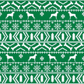 Boxer fair isle christmas sweater fabric bright green