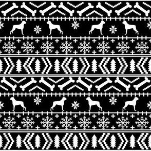 Boxer fair isle christmas sweater fabric black and white