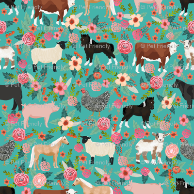 Farm animals cow sheep goat chicken floral fabric turq