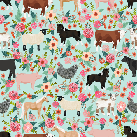 Farm animals cow sheep goat chicken floral fabric mint fabric by petfriendly on Spoonflower - custom fabric
