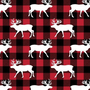 reindeer on buffalo plaid