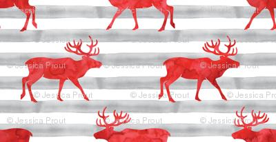 reindeer - red on grey stripes