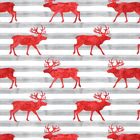 reindeer - red on grey stripes fabric by littlearrowdesign on Spoonflower - custom fabric