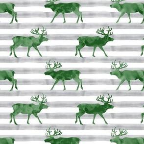 reindeer - green on grey stripes