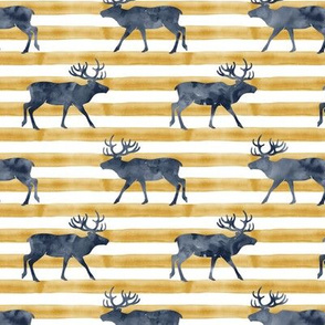 reindeer - navy on stripes